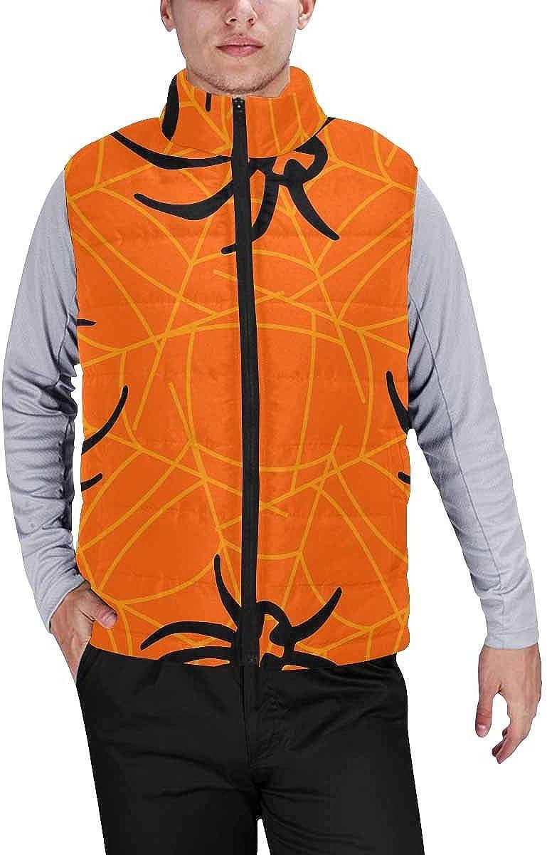 InterestPrint Warm Outdoor Sleeveless Stand Collar Vest for Men Spiders on Orange Background