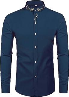 Daupanzees Mens Long Sleeve Embroidery Shirts Gold Mandarin Collar Slim Fit Dress Shirt Casual Button Down Shirt