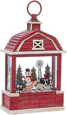 RAZ Imports Snowman On The Farm Lighted Water Lantern Barn Christmas Snow Globe