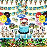 Sonic Party Supplies for Kids' Birthday, Sonic Party Decorations Included Plates, Cups, Napkins, Tablecloth, Birthday Banner, Triangle Pull flag, Balloons, Cake Topper