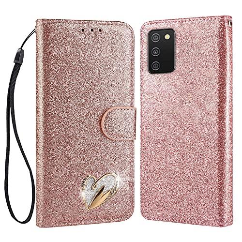 ChoosEU Compatible with Funda Samsung Galaxy A02S Cuero con Tapa y Cartera Carcasa con Silicona Suave Protectora Flip Case Antigolpes Brillante [Función de Soporte] - Oro Rosa