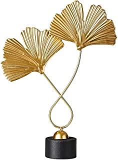 Ornements de Ginkgo en marbre Feuilles de Ginkgo doré Décoration de véranda de Cave à vin Sculpture en cuivre de Plante Ar...