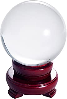 LONGWIN 100mm (3.9 inch) Clear Crystal Ball for Photography Fortune Telling Free Wooden Stand with Gift Pakcing