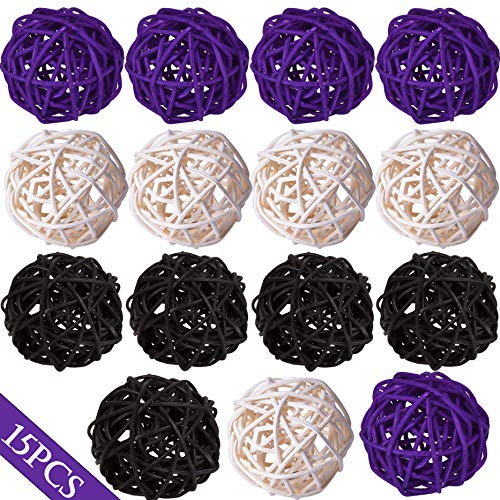 Wicker Rattan Balls Decorative Orbs Vase Fillers for Craft Project, 15pcs 2'Wedding Table Decoration,Themed Party,Baby Shower, Aromatherapy Accessories,Orbs Vase Fillers (15, white-black-purple)