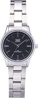 Q&Q Women's Black Dial Stainless Steel Band Watch - C215J202Y