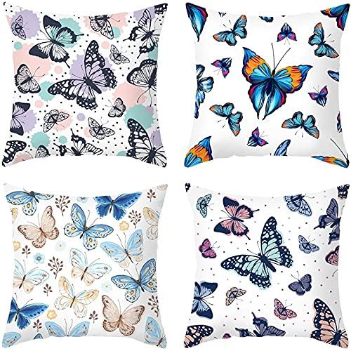 Agoble Funda Almohada Divertida, Cojines Decoracion Cama Poliéster 4 50X50Cmfunda Cojin Blanco Azul Mariposas Hermosas