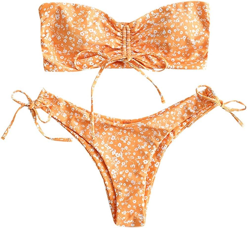 ZAFUL Women's Al sold out. Floral Print Cinched Limited price sale Tie Bikini S Set Cami Bandeau
