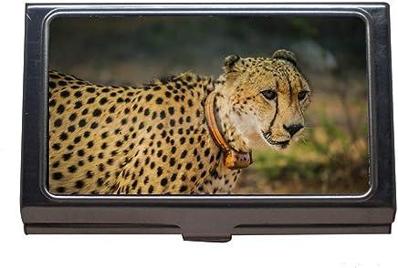 Edelstahl-Visitenkartenhalter, afrikanischer Tier-Gepard, Visitenkarten-Etui f�r Herren und Damen : B�robedarf & Schreibwaren