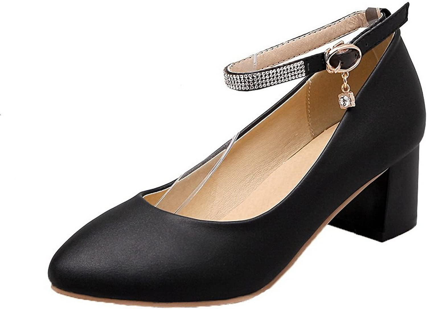 WeiPoot Women's Kitten-Heels PU Solid Buckle Round Closed Toe Pumps-shoes