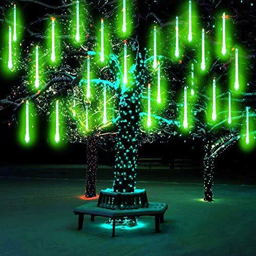 Lumineux Tubes Solaire,SUAVER Imperméable solaire Lights 10 Tubes 30CM LED Météore Pluie Lumineuses Guirlandes Solaire,Lumineux Solaire Lampes de Corde pour Noël Mariage Fête Arbre(Vert)