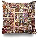 Funda de almohada Azulejo Africano Vintage Abstracto Batik Patchwork Alfombra Bohemia Funda de almohada étnica oriental
