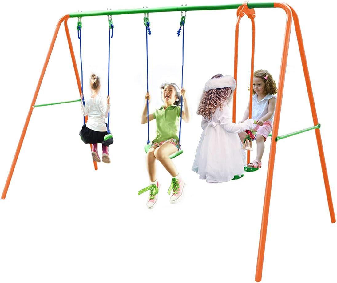 ALPIKA Dual Swing Set + Glider Swing - Heavy-Duty Outdoor Backya