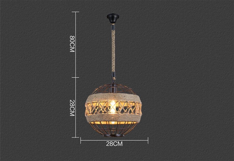 XF Lighting Retro Loft Industrial Style Lüster Hngelampe Leuchter American Creative Wohnzimmer Eisen Globe Hanfseil Pendelleuchte,Small