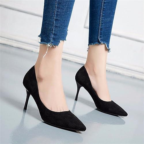 HXVU56546 Talons Hauts Noir Avec Une Pointe Fine, Fine, Avec Travail Professionnel Sauvages Chaussures Femmes Chaussures Unique 5Cm  branché