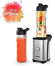 Homgeek Personal Mini Blender Smoothie Maker, Smoothie Single Serve Blender Portable Juicer Cup, Electric Power Mixer Fruit and Vegetable Single Serve,with Travel Lid and Tritan Travel Sport Bottle