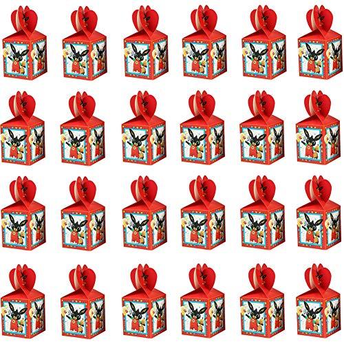 Scatole per feste di compleanno Bing Bunny 24 pezzi Sacchetti per feste Bing Sacchetti regalo di carta Scatole per caramelle coniglietto Sacchetto di Kraft per compleanno Matrimonio Celebrazione