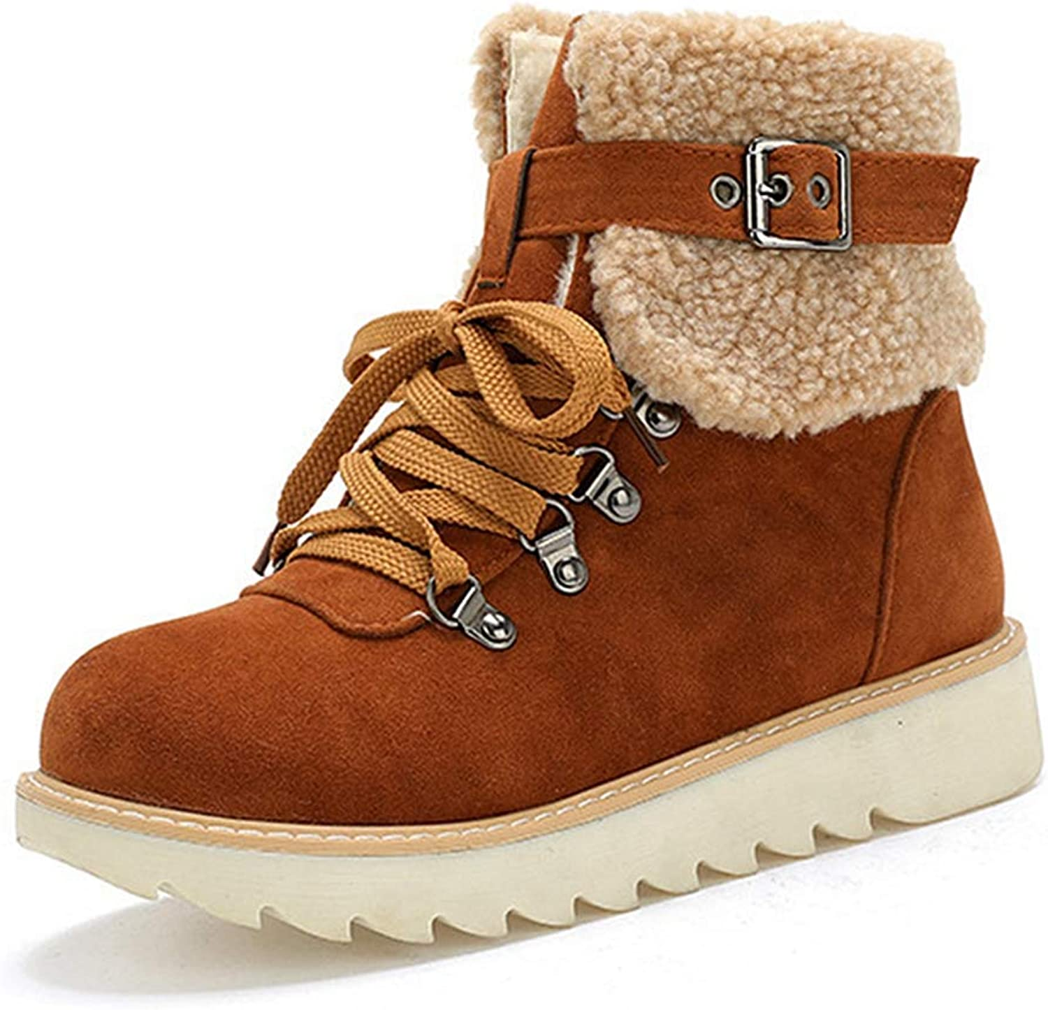 Fashion shoesbox Women's Ankle High Snow Boots Lace-Up Winter Warm Fur Round Toe Short Boots Flat Heel Outdoor Work Combat Bootie