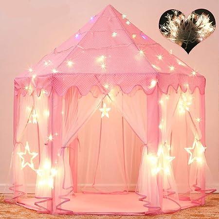 子供用テント キッズテント プリンセスの城型 折り畳み式 プレイハウス キラキラLEDスターライト付き 秘密基地 お誕生日・クリスマスプレゼント・おままごと Wilwolfer (ピンク)