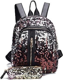 Fmeida Women Magic Sequin Bag Glitter Backpack for Girls Flip Reversible Mini Fashion Bag for School