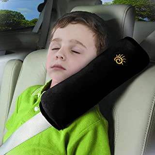 Seat Belt Pillow for Kids,Car Seat Belt Cover,Auto Headrest Neck Support Travel Pillow,Car Safety Seat Strap Protector Cushion,Soft Vehicle Shoulder Pad,Seatbelt Pillow for Child Toddler Baby (Black)