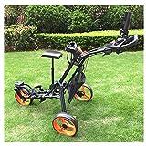 JLDN Chariot Golf 3 Roues, Chariot de Golf Pliant Golf Cart avec Le siège Porte-Parapluie Porte-gobelet Frein Au Pied,Black
