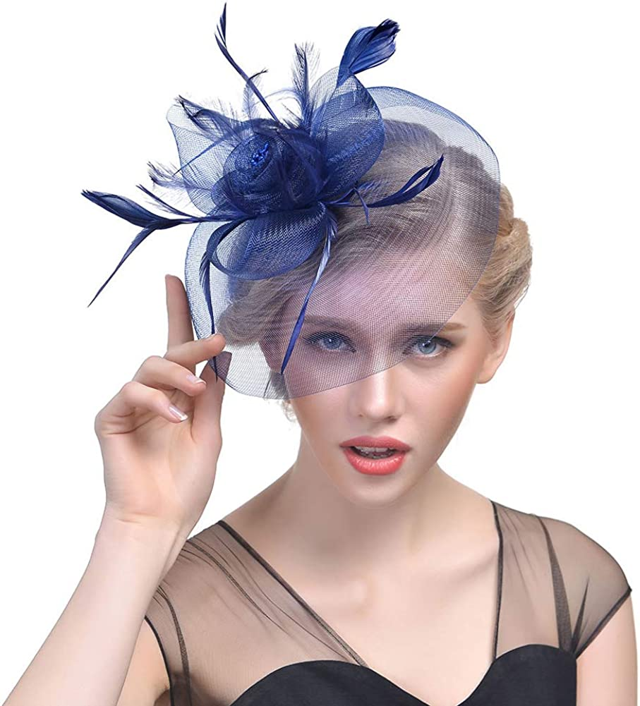 Women Fascinator with Mesh Feathers Hair Clip Kentucky Derby Weddings Cocktail Tea Party Costume Accessory