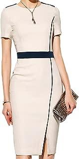 Women's Short Sleeve Colorblock Slim Bodycon Business Pencil Dress