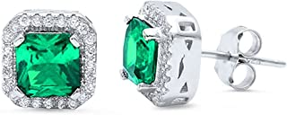 Halo Stud Post Earring Princess Cut Square Simulated Emerald Green Round CZ 925 Sterling Silver