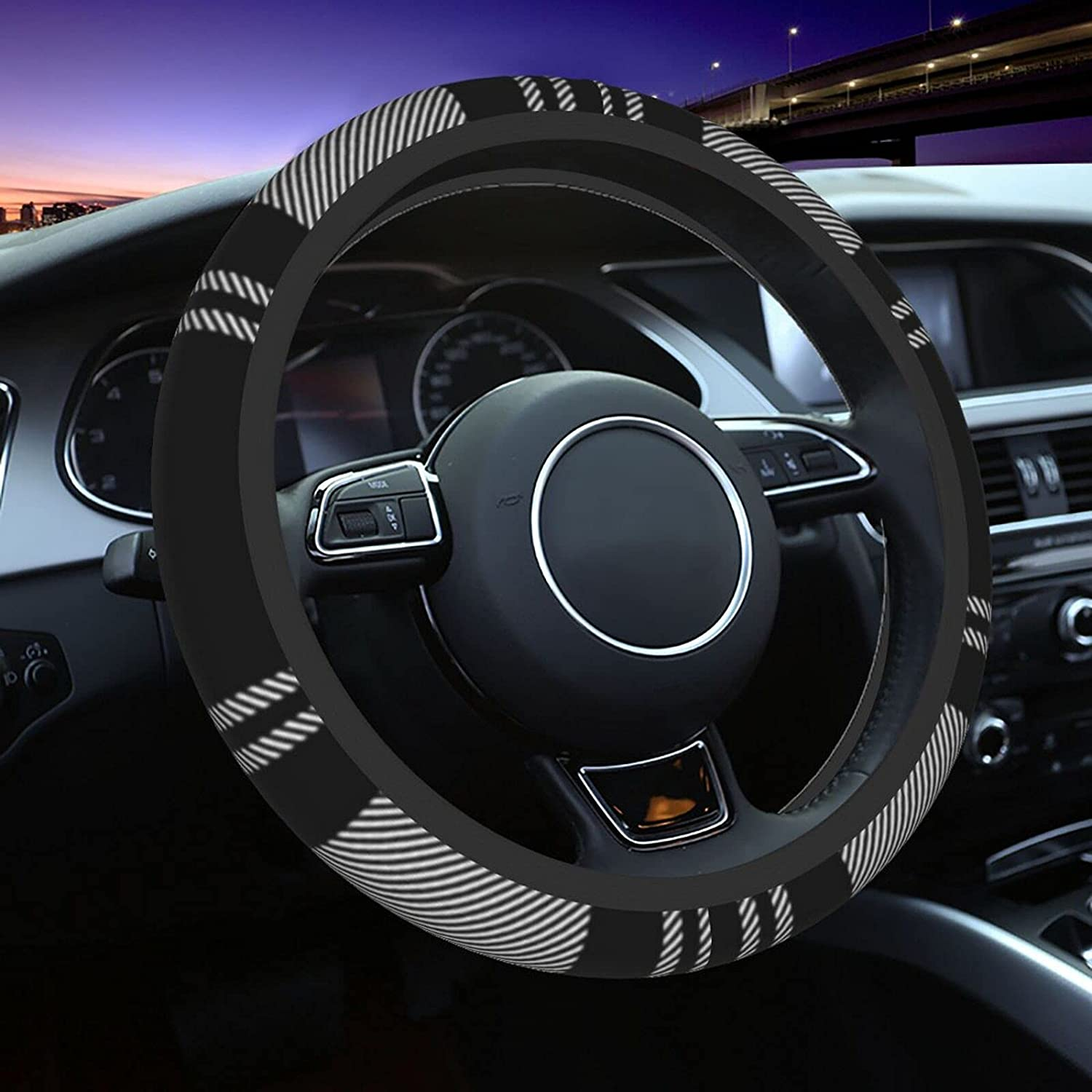 Black White Abstract Diagonal Fabric for C Covers Steering free shipping Wheel Ranking TOP4