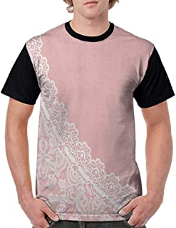 Shirts,Pink and White,Lace Old Fashioned Border on Pink Color Wedding Theme Feminine Print, Pale Pink White S-XXL Print Short Sleeve Baseball Ladies Tee