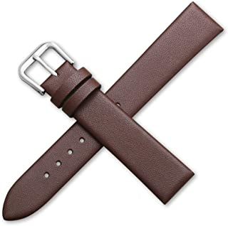 EnjoyMSS Bracelet de montre ultra fin en cuir véritable - Bracelet de montre de rechange en cuir de vache