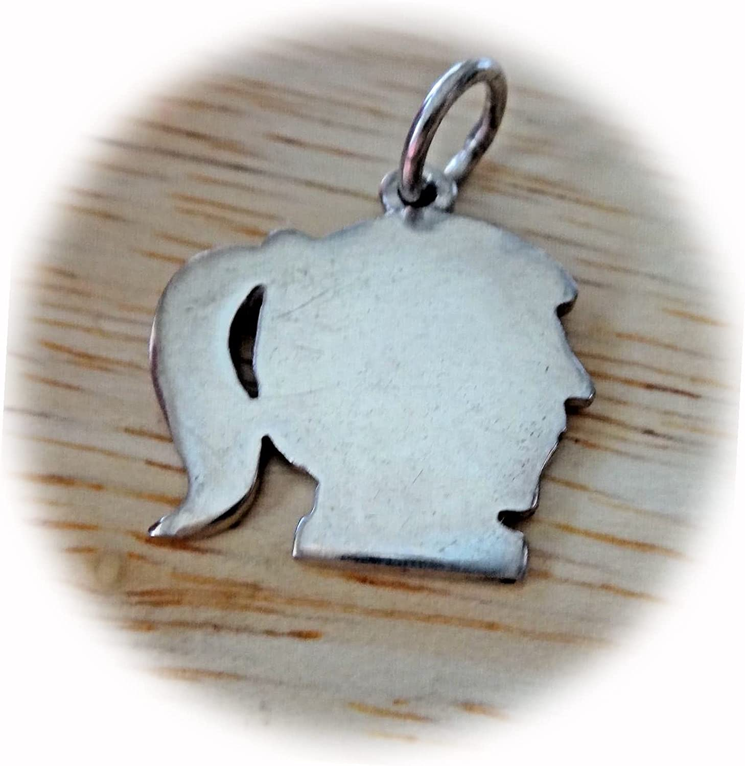 New Sterling Silver 5 ☆ popular Free shipping 17x19mm Girl Engravable Silhouette with Pony
