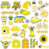 ANERZA VSCO Stickers for Hydro Flask, Vinyl Waterproof Water Bottle Stickers for Hydroflasks, Laptop, Phone, Cute Trendy Aesthetic Yellow Stickers for Teens, VSCO Girl Stuff (40 pcs)