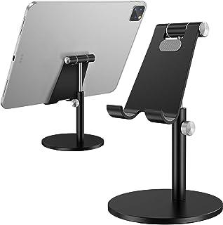 Tablet Stand, Height Adjustable Desktop Stand Holder, 360 Degree Rotating Aluminum Alloy Cradle Mount Dock for iPhone, Sam...