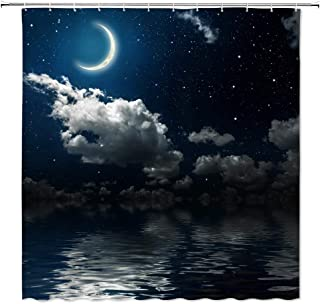 Crescent Moon Shower Curtain Decor Night above Ocean Sea Dark Blue Starry Sky White Cloud Natural Landscape Bathroom Curtain Polyester Fabric Machine Washable with Hooks 70 x 70 Inches (Multi 2201L)