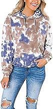 Darringls Sudadera para Mujer, Mujeres con Capucha Lados Manga Larga Casual Cuello Redondo Parche en el Codo Camisa de Entrenamiento Suelta Blusas Teñido de Corbata