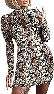 Mini Vestido de Cadera con Estampado de Serpientes para Mujer Vestido de cóctel Delgado con Cuello Alto y Manga Larga Vestido de Fiesta Corto Bodycon