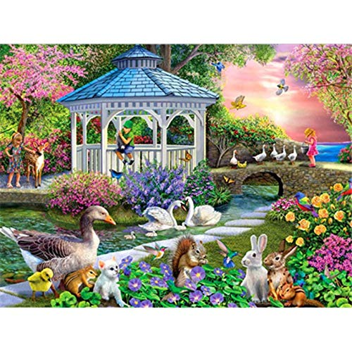 DIY 5D Diamond Painting Painting Cross Stitch Full Drill Crystal Rhinestone Embroidery Pictures Arts Craft for Home Wall Decor Gift (12x16 Inch) House Flower D4