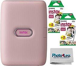 Fujifilm Instax Mini Link Smartphone Printer + Fuji Instax Mini Film (40 Sheets) - Instax Mini Printer Bundle (Dusky Pink)