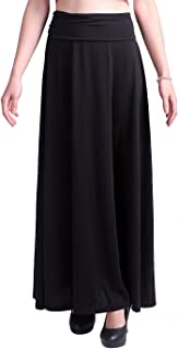 HDE Women's High Waist Fold Over Elastic Long Summer Maxi Skirt