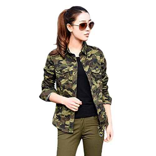 7c77bcbd ItkiUtki Girl's & Women's Military Camouflage Casual Multicolor Army Shirt