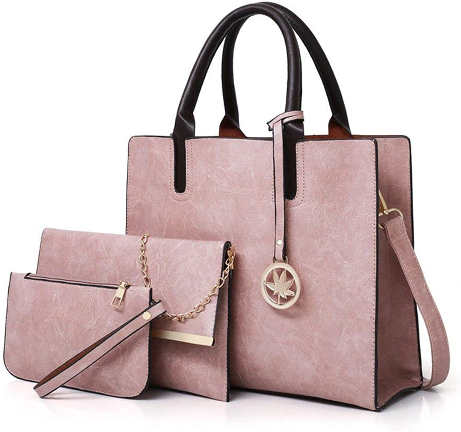 Ladies Handbag Antique Bag Handbag Professional Business Bag (color   Pink, Size   Three Piece Set)