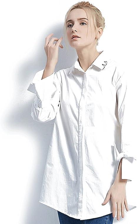 Blusa floja de la moda de la manga larga de la camisa blanca ...