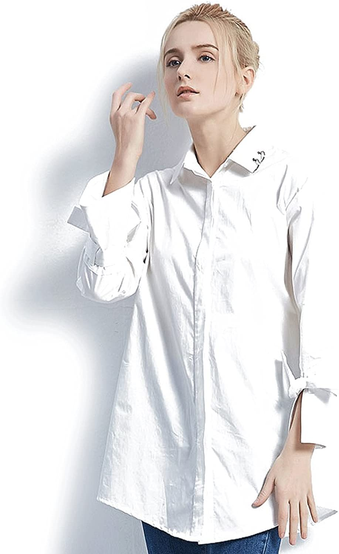 Spring white shirt women's longsleeve loose fashion blouse