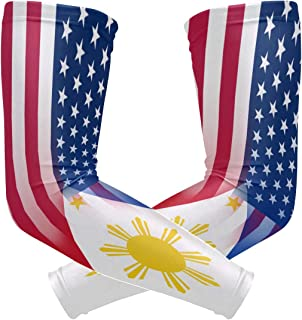 Y-RED-AA USA Philippines Flag Cooling Arm Sleeves Cover Uv Sun Protection for Men Women Running Golf Cycling Arm Warmer Sleeves 1 Pair
