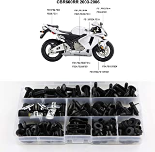 Xitomer Full Sets Fairing Bolts Kits, for Honda CBR600RR F5 2003 2004 2005 2006, Mounting Kits Washers/Nuts/Fastenings/Clips/Grommets (Matte Black)