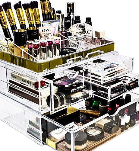 Sorbus Acrylic Cosmetic Makeup and Jewelry Storage Case Display with Gold Trim  Spacious Design  Great for Bathroom Dresser Vanity and Countertop Gold Set 2