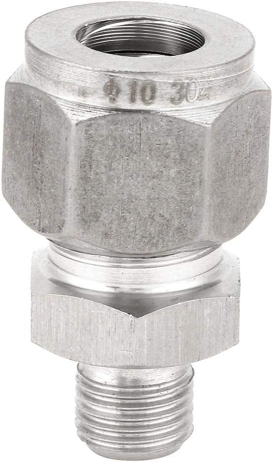 OKBYY Compression Fitting,1pcs Metric Threads Stainless Steel Compression Fitting Straight Ferrule Joint for Water Air M61-6