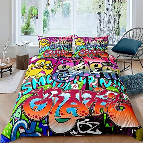 Tbrand Hip Hop - Juego de cama para niños, niñas, adolescentes, cultura callejera juvenil, diseño de graffiti con texto en spray gráfico y grunge con cremallera para decoración de dormitorio