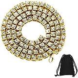 1 cadena de tenis de hip hop chapada en oro y plata unisex, con diamantes artificiales, collar de tenis plateado/dorado con incrustaciones de diamantes de imitación, ideal como regalo de joyería